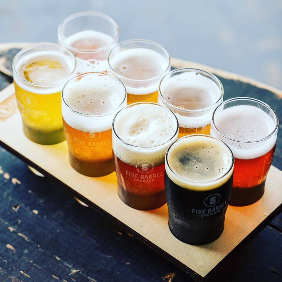 The beer paddle at Five Barrel Brewing is popular for tastings.