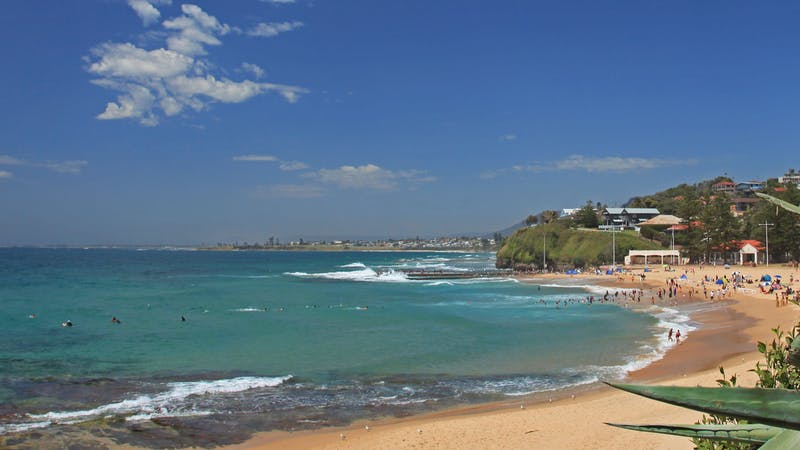 Austinmer Beach is a popular beach north of Wollongong in the Illawarra.