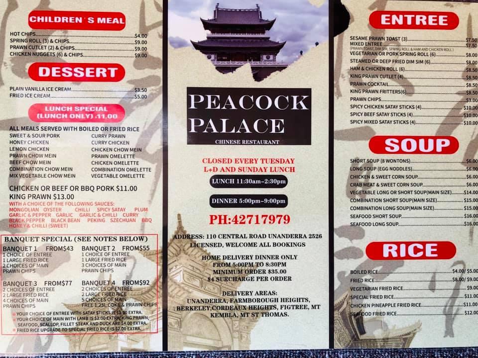 Peacock Palace Chinese Restaurant Menu